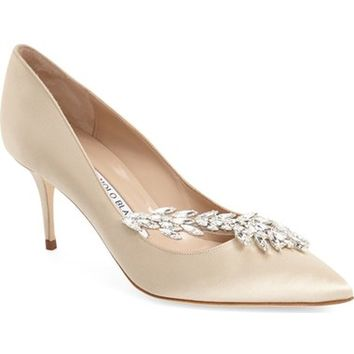 Manolo Blahnik' Nadira' Crystal Embellished Pointy Toe Pump (Women) | Nordstrom