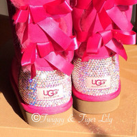 Princess Pink Ugg Bailey Bows with Swarovski Crystal Embellishment - Princess Pink Bailey Bow Bling Uggs