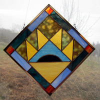 """Stained Glass Mountain Quilt Square Bear Paw Pattern Multi-Colored - Handmade 9 """" Hanging Window Panel by Dark Hollow Stained Glass"""