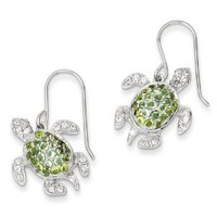 Sterling Silver Clear, Green and Blue CZ Turtle Dangle Earrings