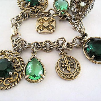 Green Chunky Charm Bracelet, Glass Cabachons, Gold Tone Filigree, Faux Pearl Highlights