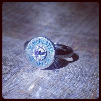 Simplistic Bullet Ring - Nickel with Blue Lettering