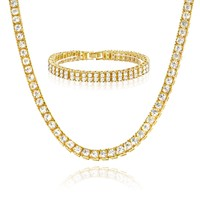"Jewelry Kay style 24"" Tennis Chain & 8"" Bracelet SET Men's Stoned CZ Iced Out Gold / Silver Toned"