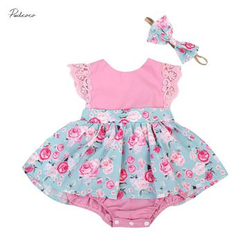 Newborn Infant Cute Mini Pink Floral Dress Baby Infant Girls Clothes