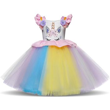 Flower Unicorn Tutu Dress Pastel Rainbow Princess Girls Birthday Party Dress Children Kids Christmas Halloween Unicorn Costume