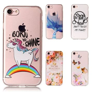 For Fundas iPhone 7Plus Case Soft Silicone Cartoon Painted TPU Unicorn Turtle Cover For iPhone 8 Plus Case 7P 8P Phone Case Capa