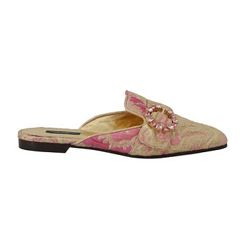 Dolce & Gabbana Gold Pink Brocade Crystal Floral Mules