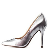 Silver Metallic Pointed Toe Stiletto Pumps by Charlotte Russe