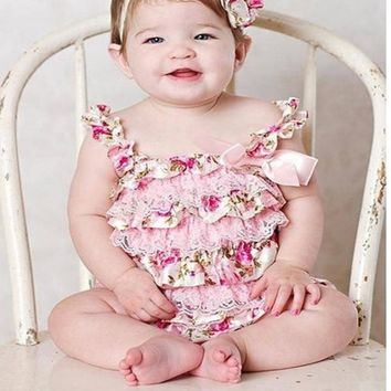 2017 Newborn Baby Rose Lace Romper Cute Kids Baby Lace Ruffle Bow Clothes Toddler Girls Fashion Satin Colorful Baby Costume