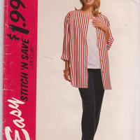Sewing pattern for loose fitting shirt jacket, tank top, tapered pants misses size 10 12 14 16 McCall's Stitch n Save 6483 UNCUT