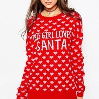 ASOS TALL 'This Girl Loves Santa' Christmas Jumper
