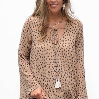 Say You Care Leopard Print Bell Sleeve Blouse