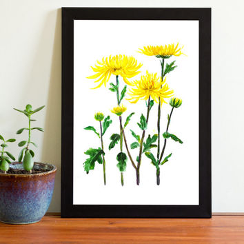 Botanical Print Watercolor Print yellow chrysanthemum  floral arts wall decor home decorCustomize instant digital download wall art