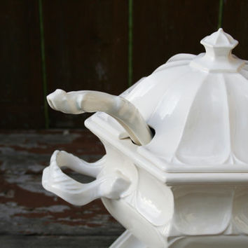 No Soup For You! - Vintage White Large Ceramic Soup Tureen with Ladle and Pedestal, Large Soup Serving Bowl