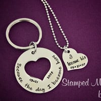 The Day I Became His, Hers - Anniversary, Engagement Hand Stamped Necklace and Keychain Set - Customized Date - Couples Set