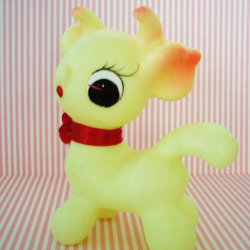 Vintage Rubber Squeak Toy-Cow-1960S-Kitsch-Kawaii-Cute-Mint-Pre Blythe-Woodland Doll era