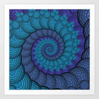 Blue Peacock Fractal Pattern Art Print by Hippy Gift Shop