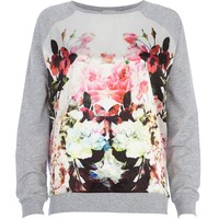 CREAM FLORAL PRINT SATIN FRONT DOLMAN TOP