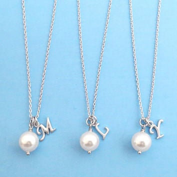 Set of 5-10, Personalized, Letter, Initial, 8mm, White, Pearl, Gold, Silver, Necklace, Wedding, Bridesmaids, Bridal, Gift, Jewelry