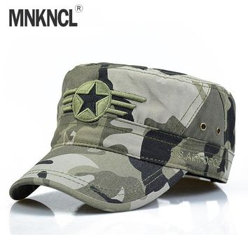 Trendy Winter Jacket MNKNCL 2018 New Men Snapback Caps Vintage Army Hat Cadet Patrol Cap Adjustable Five Pointed Star Flat Top Camouflage Hats AT_92_12
