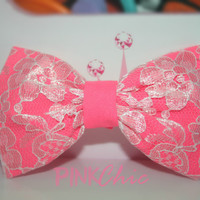 Hot Pink Lace Covered Hair Bow - Chic, Classic, Clip On