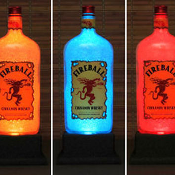 Fireball Cinnamon Whiskey Color Change LED Remote Control Glow Pub Bar Neon Sign