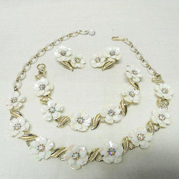 CORO 3 Piece Demi Parure / Floral Pearl Essence Jewelry Set With AB Rhinestones