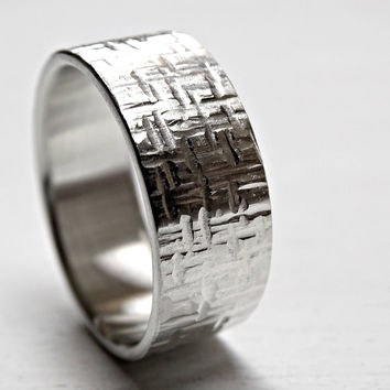 square hammered ring, mens wedding band silver, bold mens ring silver, unique wedding ring, cool promise ring for men, patterned ring silver