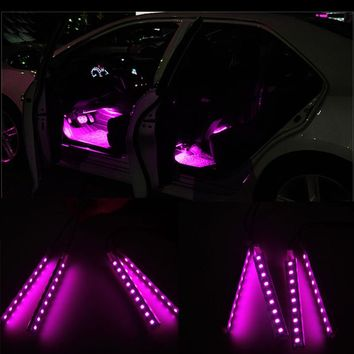 Captivating Hot Pink LED Car Interior Lights