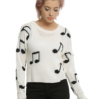 Ivory Music Note Girls Pullover Sweater