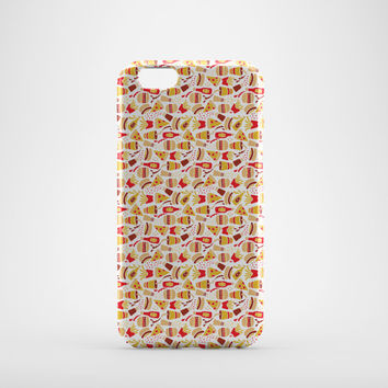 Fast Food Retro iPhone Case, Burger Chips Pizza Phone Case, iPhone 6 Plus Case, iPhone 6 Case, iPhone 5C Case, iPhone 5 Case, iPhone 4 Case