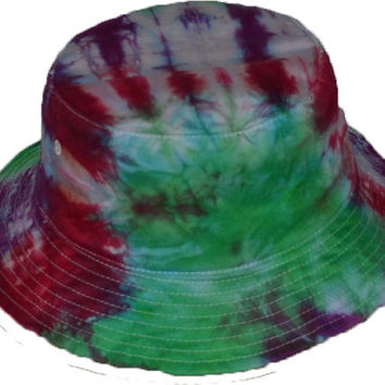 Tie-Dye Bucket Hat Green Purple Red (onesize 22.5 inch id)