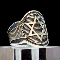 Masonic Ring David Star Sterling Silver King Solomon Hexagram Illuminati Art