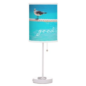 """Good vibes"" happy beach birds photo table lamp"