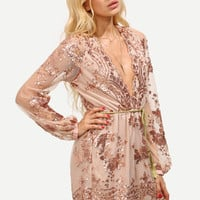Champagne Deep V Neck Sequined Romper With Belt -SheIn(Sheinside)