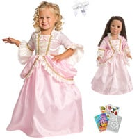 Little Adventures Pink Parisian Princess Dress with Doll Dress, Hair Bow & Coloring Book