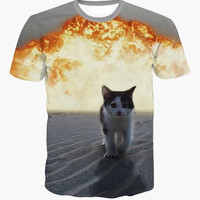 Cartoon cute cat explosion 3D T-Shirt