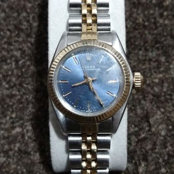 Ladies Oyster Perpetual Vintage Rolex watch, 14k, Stainless steel, blue face