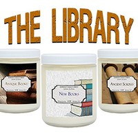 Scented Candles The Library Set - Includes Antique Books, New Books and Ancient Scrolls – 3 x 4 oz Soy Scented Candles Literary Gifts Novel Lovers
