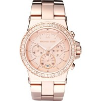 Michael Kors Watches Ladies Dylan Glitz Chronograph Rose Gold Dial Watch