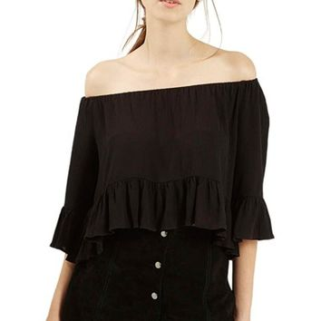 Petite Women's Topshop Crinkly Off the Shoulder Top,