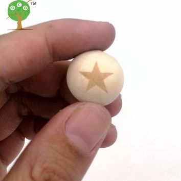 100pcs wood round ball bead star pentagram shaped burnt engrave diy accessory wooden craft for teether EA138-1