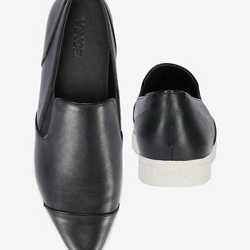 Vince Pointy-Toe Leather Slip On Sneaker: Black | Shop IntermixOnline.com