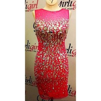 2016 Hot Pink Cocktail Dress With Sheer Neck Bling Crystal Sheath Tulle Short Cocktail Dress Party Gown Sexy Backless Prom Gowns