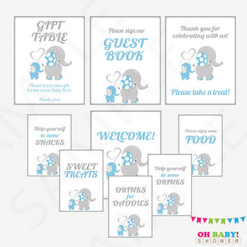 Elephant Baby Shower Decorations, 9 Baby Shower Signs, Printable Blue Elephant Baby Shower Boy, Guest Book Sign, Welcome, Gift Table ELLBG