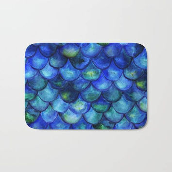 Blue Green Mermaid Tail Bath Mat, Neon Mermaid Scales Bath Mat, Blue Shower Bath Mat, Blue Green Shower Mat, Mermaid Theme, Mermaid Gifts