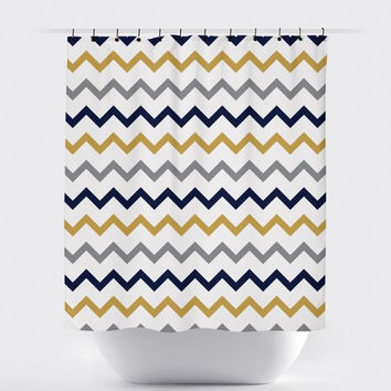 Cream/Mustard/Navy Chevron Shower Curtain