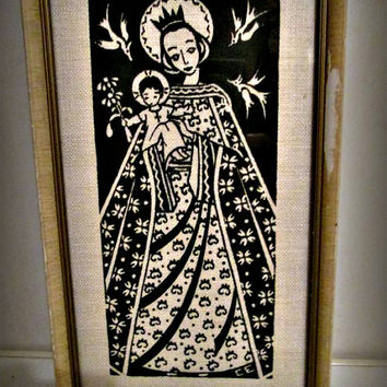 Vintage Picture Virgin Mary, Mother and Child, Saints, Angels, Home Decor, Wall Decor