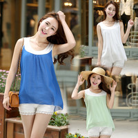 Women : Chiffon cotton double layer top summer loose fit vest final clearance ghl0181