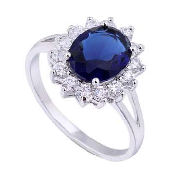 18K Gold Platinum Plated  Blue Rhinestone Ring   platinum plated blue zircon 6.5#